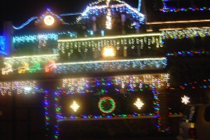 the most lighted house in my neighborhood. Awesome. I also wonder about his electric bill the following month. :-)