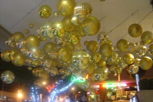 Christmas balls everywhere. I love gold and silver ones. The shinier, the lovelier.
